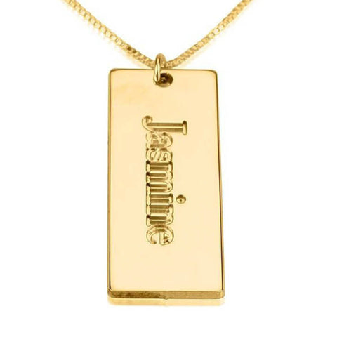 Personalized 24K Gold Plated Nameplate Pendant