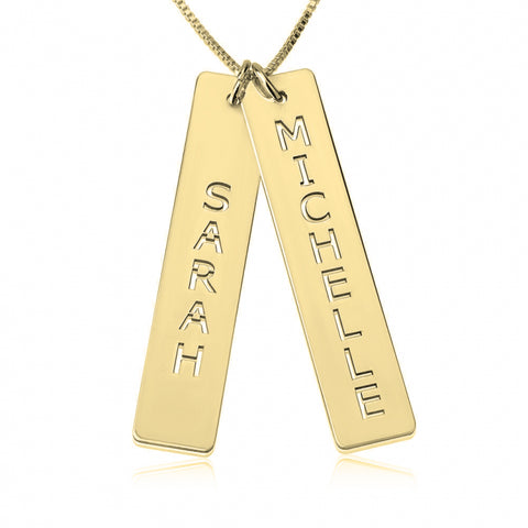 Personalized 24K Gold Plated Vertical Bar Necklace with Two Names