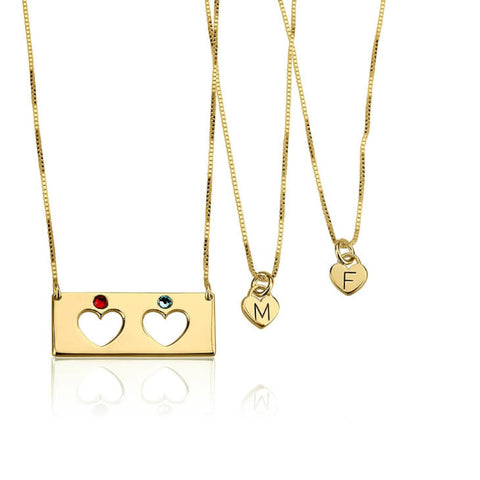 Personalized 24k Gold Plated Birthstone Bar Mother Daughter Necklace Set
