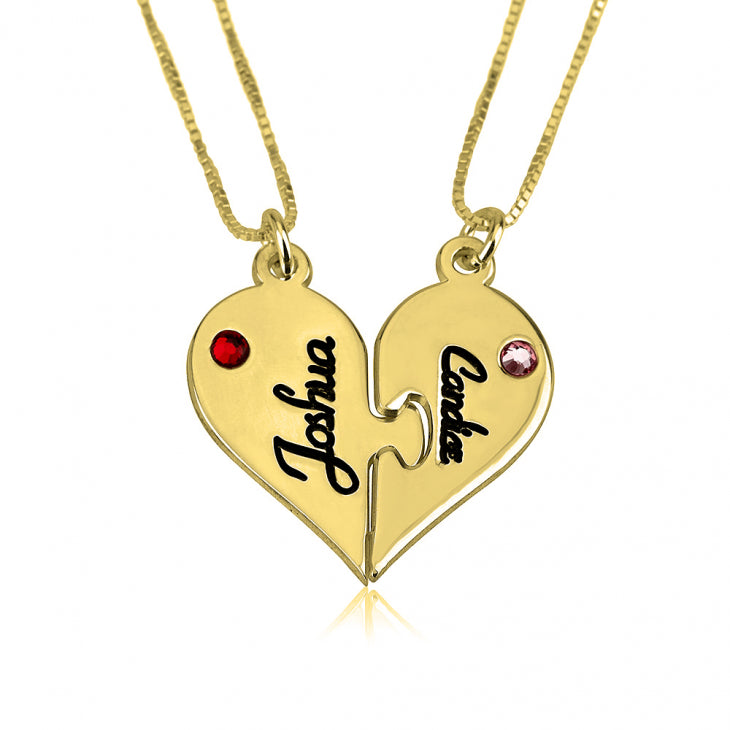 Personalized 24k Gold Plated Breakable Heart Couple Necklace Set