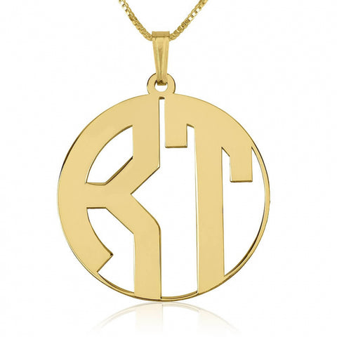 Personalized 24k Gold Plated Capital Letters Border Monogram Necklace
