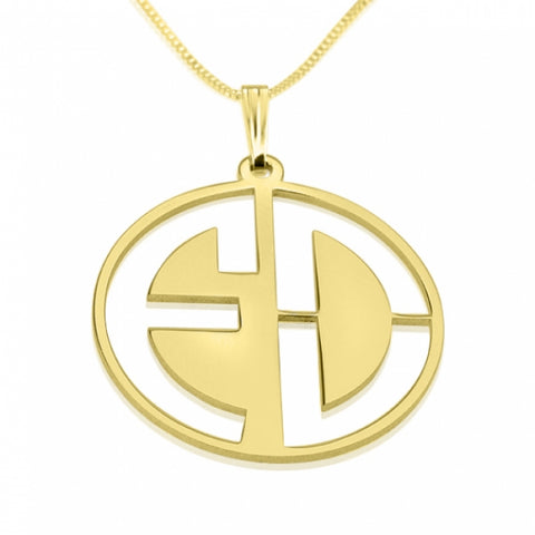 Personalized 24k Gold Plated Capital Letters Cut Out Monogram Necklace