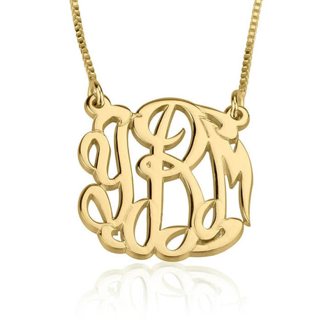 Personalized 24k Gold Plated Celebrity Monogram Necklace
