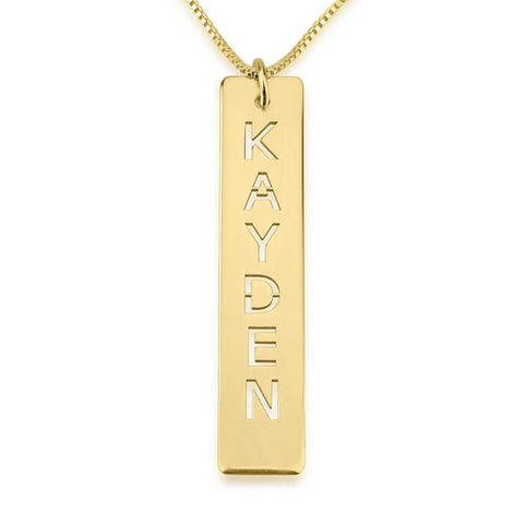 Personalized 24k Gold Plated Cut Out Vertical Bar Necklace
