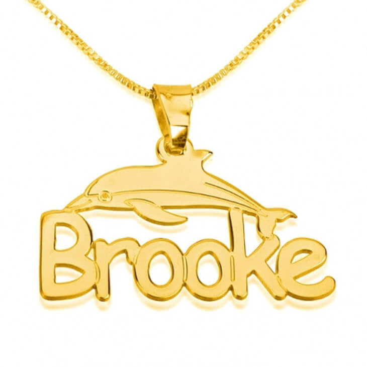 Personalized 24k Gold Plated Dolphin Pendant with Name