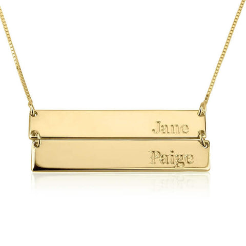 Personalized 24k Gold Plated Engraved Stacked Bar Necklace