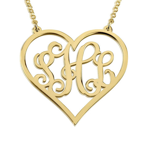 Personalized 24k Gold Plated Heart Monogram Necklace