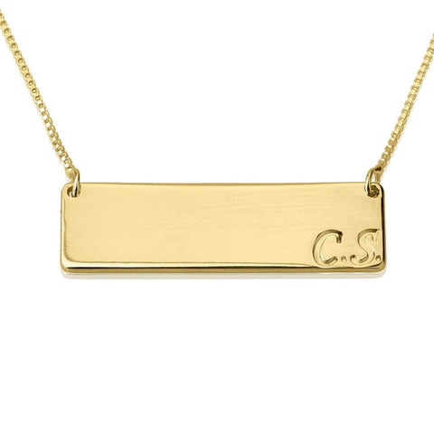 Personalized 24k Gold Plated Horizontal Initials Bar Necklace