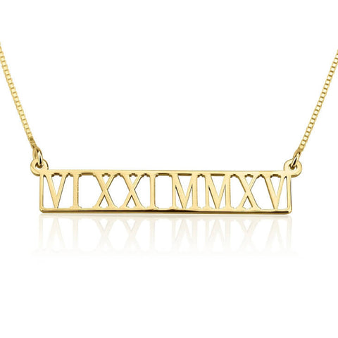 Personalized 24k Gold Plated Roman Numeral Cut Out Necklace