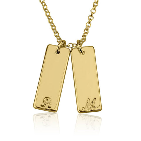 Personalized 24k Gold Plated Small Vertical Bar Initial Necklace