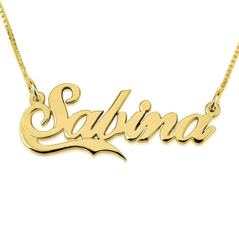 Personalized 24K Gold Plated Allegro Name Necklace With Half Line