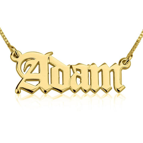 Personalized 24K Gold Plated Old English Script Name Necklace