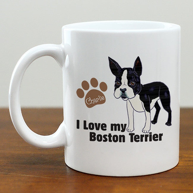 Personalized I Love My Boston Terrier Mug