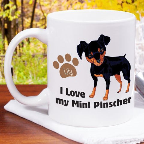 Personalized I Love My Mini Pinscher Mug