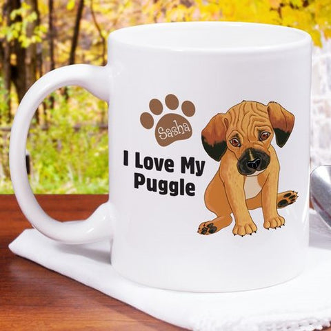 Personalized I Love My Puggle Mug