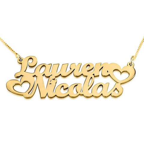 Personalized 24K Gold Plated Two Names Necklace with Hearts