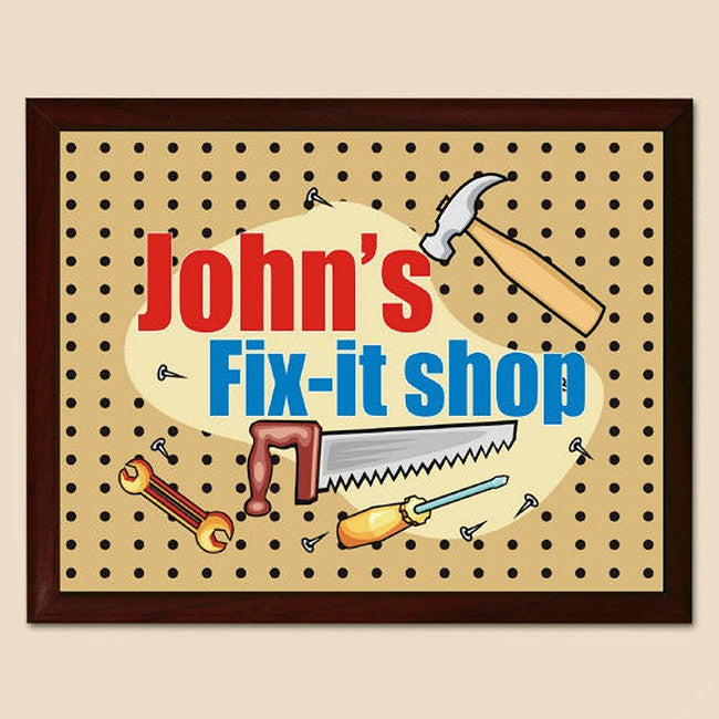 Personalized My Fix-It Shop Printed Plaque