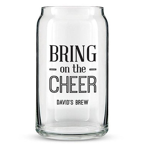 Can Shaped Glass Personalized - Bring on the Cheer Printing Black