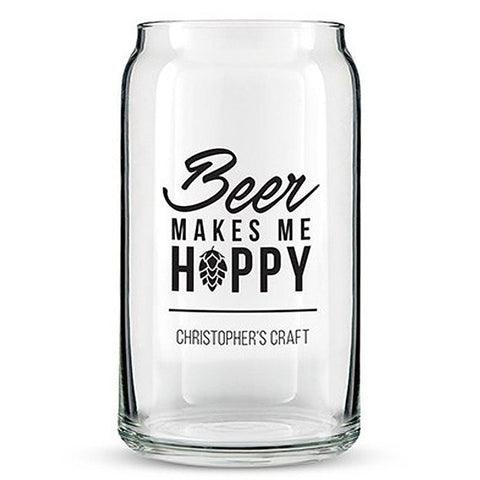 Beer Can Shaped Glass Personalized - Beer Makes Me Hoppy Printing Black
