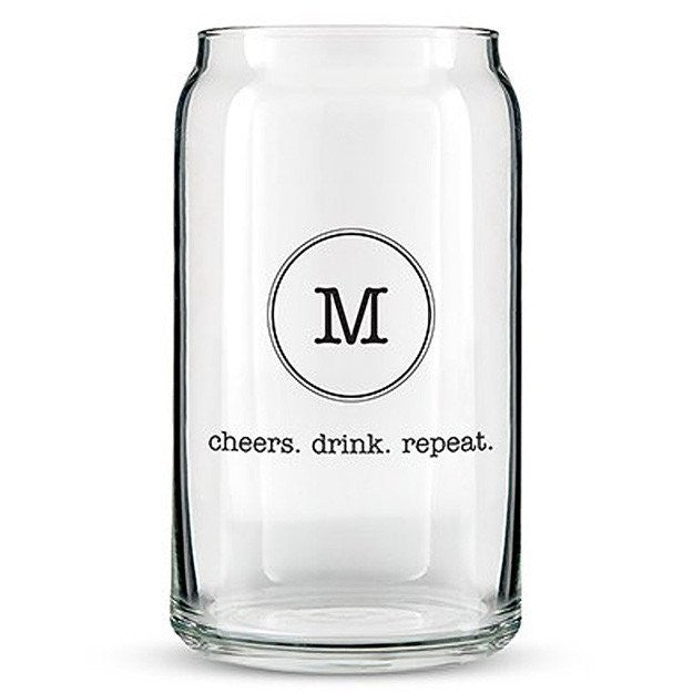 Can Shaped Glass Personalized - Typewriter Monogram Printing Black