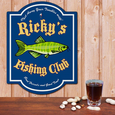 Personalized Fishing Tempered Hardboard Club Sign