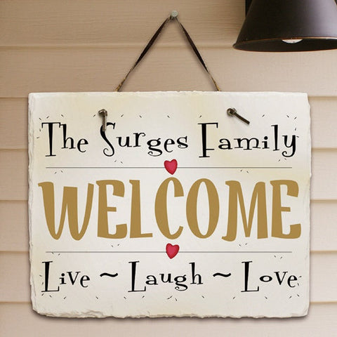 Personalize Live, Laugh, Love Slate Plaque