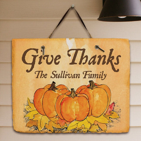 Personalized Give Thanks Slate Plaque