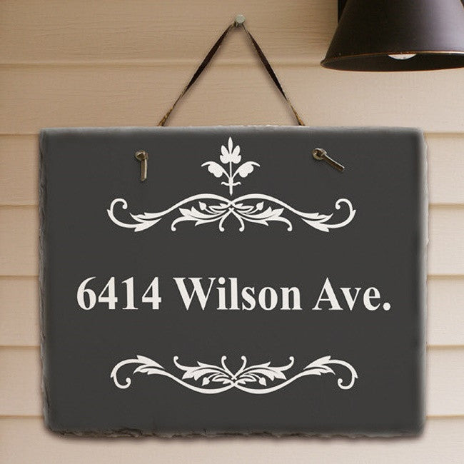 Personalized Filigree Welcome Slate Plaque