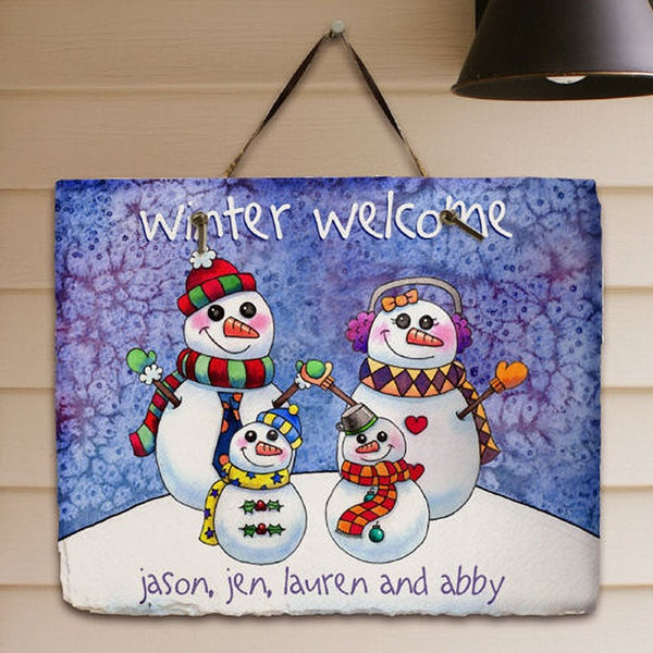 Personalized Snowman Family Plaque