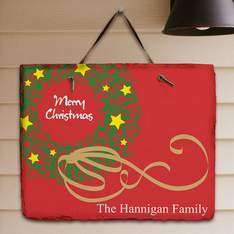 Personalized Christmas Wreath Plaque