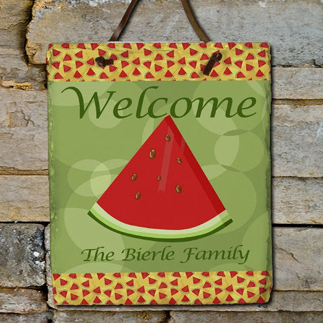 Personalized Watermelon Welcome Slate Plaque