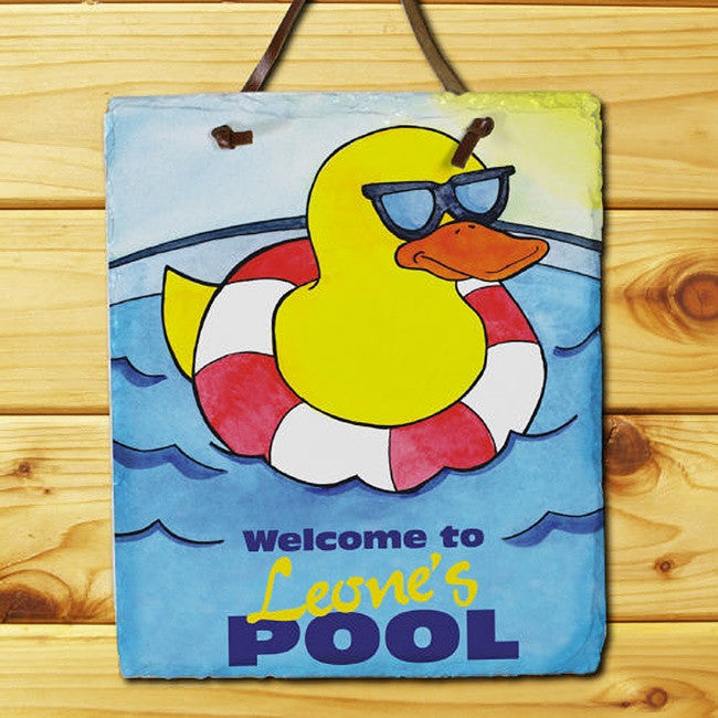 Personalized Cool Duck Swimming Pool Slate Plaque