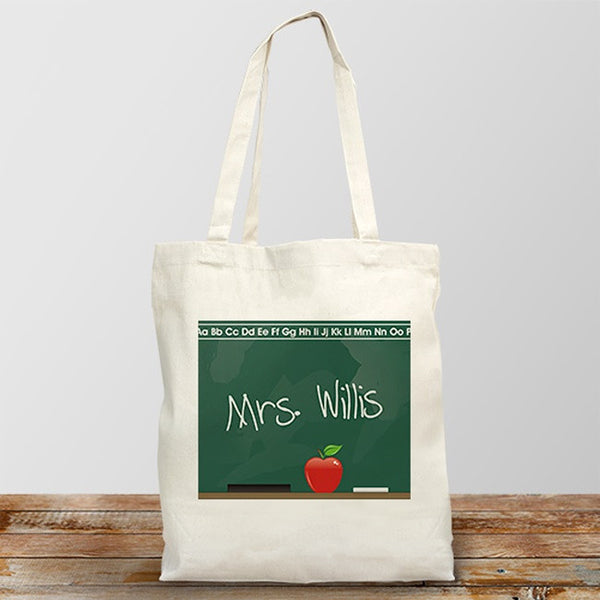 Personalized Canvas Tote Bag For Teachers With A Chalkboard Design