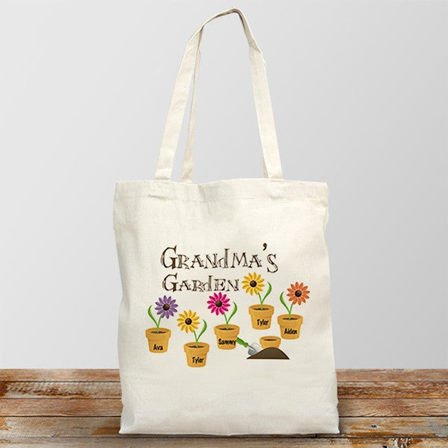 Personalized Grandma's Garden Design Tote Bag