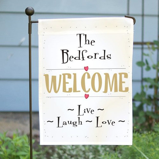 Personalized Live Laugh Love Garden Flag
