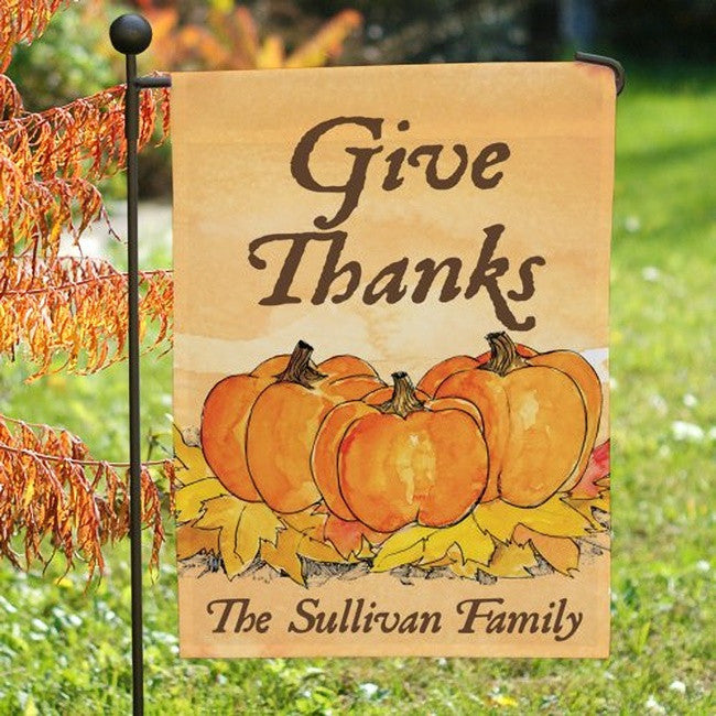 Personalized Give Thanks Garden Flag