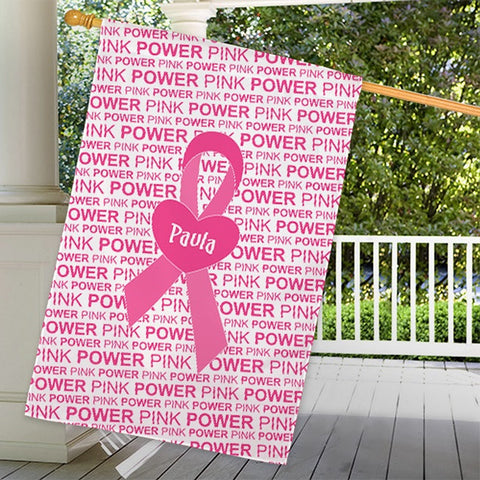 Personalized Breast Cancer Pink House Flag