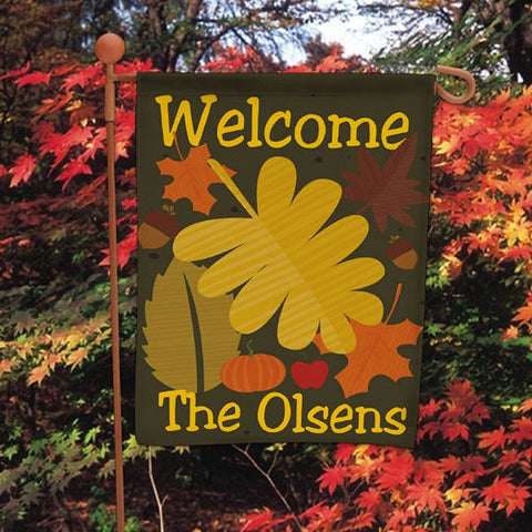 Personalized Welcome Fall Garden Flag