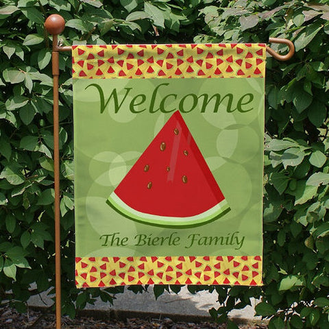 Personalized Watermelon Welcome Garden Flag