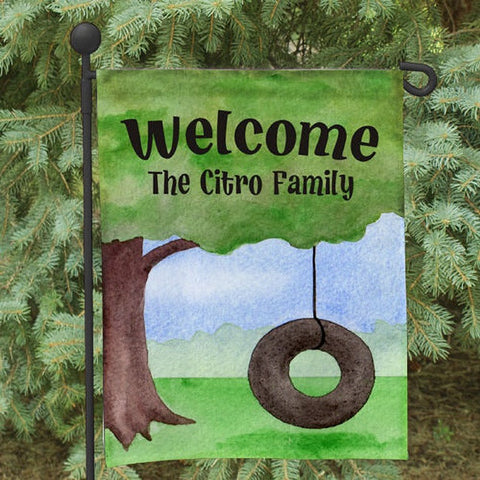 Personalized Tire Swing Welcome Garden Flag