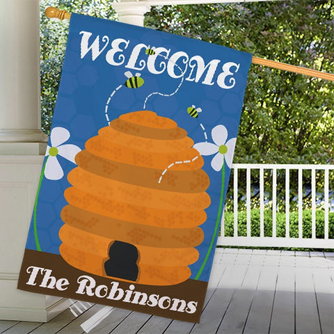 Personalized Beehive Welcome House Flag