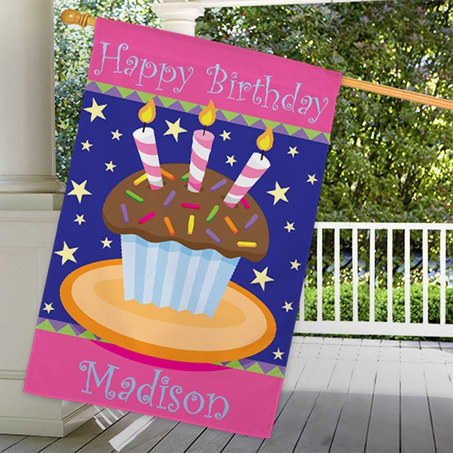 Personalized Birthday Cake House Flag