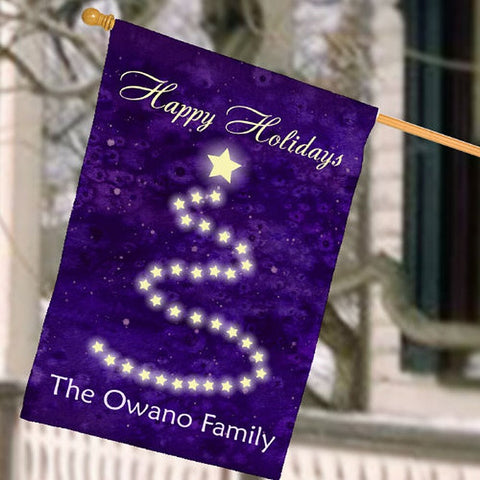 Personalized Christmas Purple House Flag