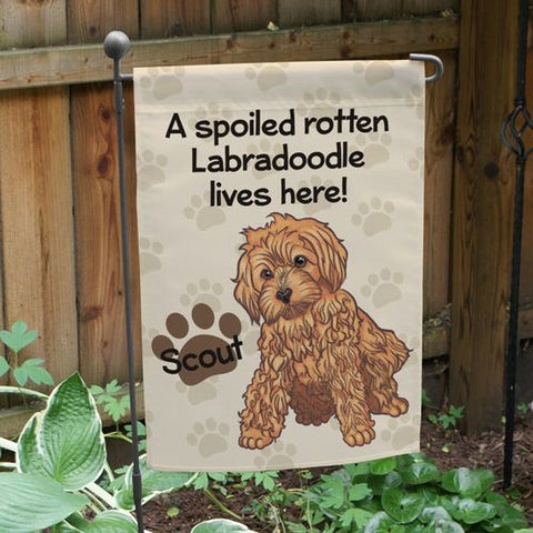 Personalized Labradoodle Spoiled Here Garden Flag
