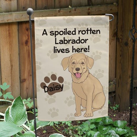Personalized Yellow Lab Spoiled Here Garden Flag