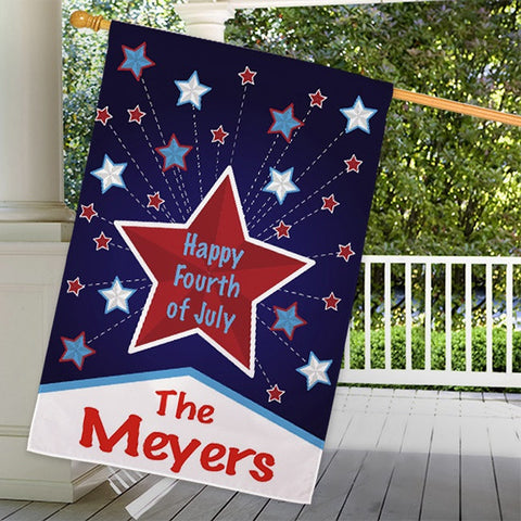Personalized Happy 4th House Flag