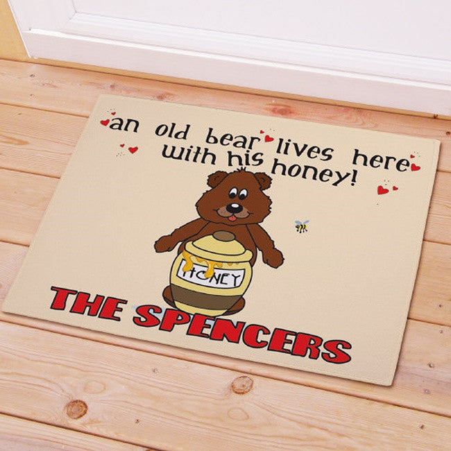 Personalized Old Bear and His Honey Doormat
