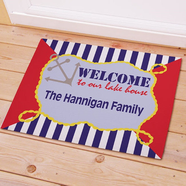 Personalized Family Lake House Welcome Doormat