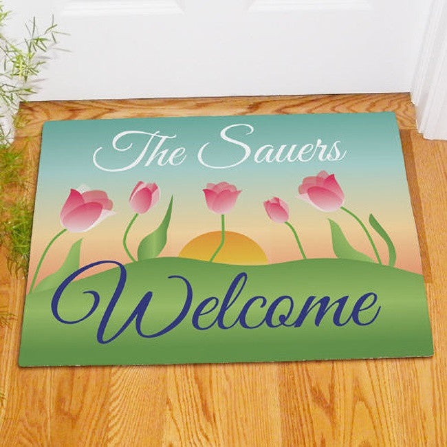 Personalized Spring Tulips Doormat