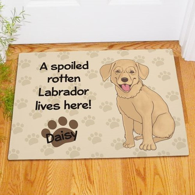 Personalized Yellow Lab Spoiled Here Doormat